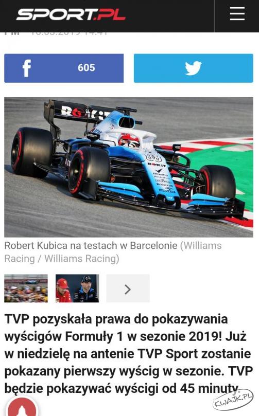 F1 w TVP od... 45 minuty
