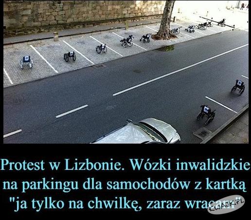 Protest w Lizbonie niespełnosprawnych