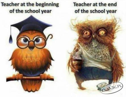 Nauczyciel na początku i na końcu roku szkolnego