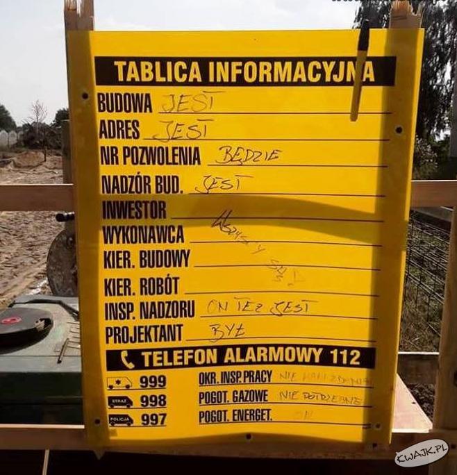 Tablica informacyjna na budowie