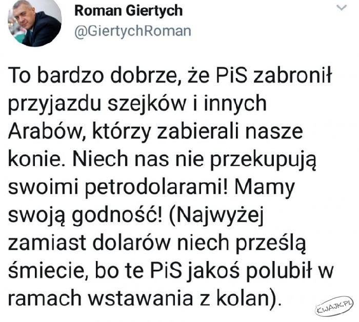 Wpis Romana Giertycha na Twitterze