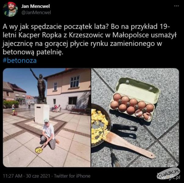 19-letni Kacper usmażył jajecznicę na gorącej płycie rynku