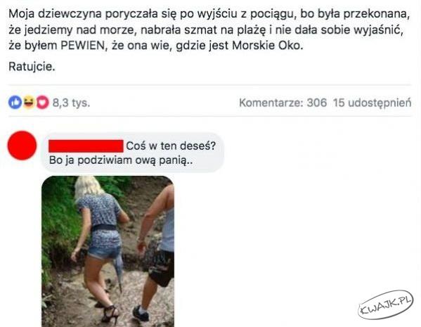 Moja dziewczyna myślała, że Morskie Oko leży nad Bałtykiem...