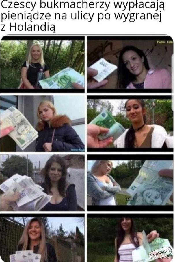 Czescy bukmacherzy wypłacają pieniądze na ulicy po wygranej z Holandią ;)