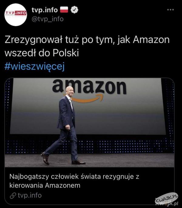 Zrezygnował tuż po tym, jak Amazon wszedł do Polski