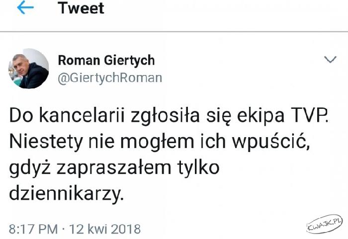 """Roman Giertych. """"Nie wpuściłem TVP, bo zapraszałem tylko dziennikarzy"""""""