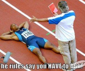 Regulamin tej dyscypliny mówi, że musisz biec!