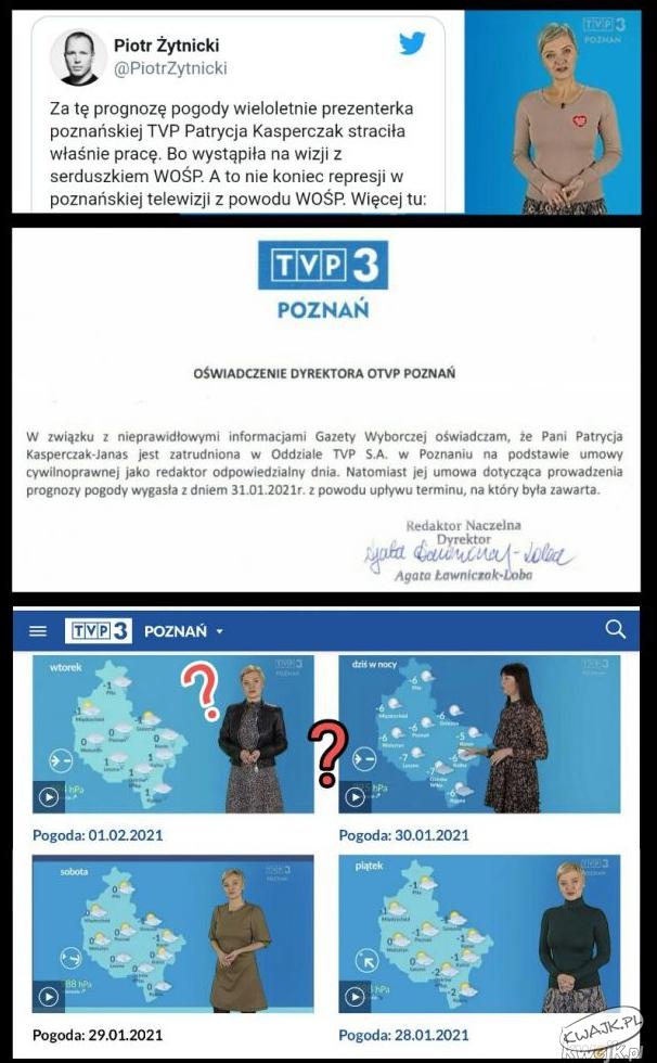 TVP 3 Poznań zwolniło pogodynkę za... serduszko WOŚP