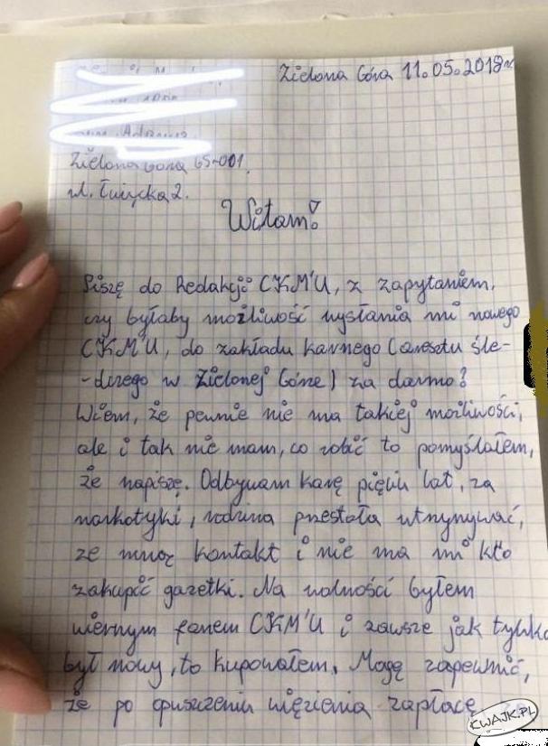 Redakcja CKM-u otrzymała list z zakładu karnego...