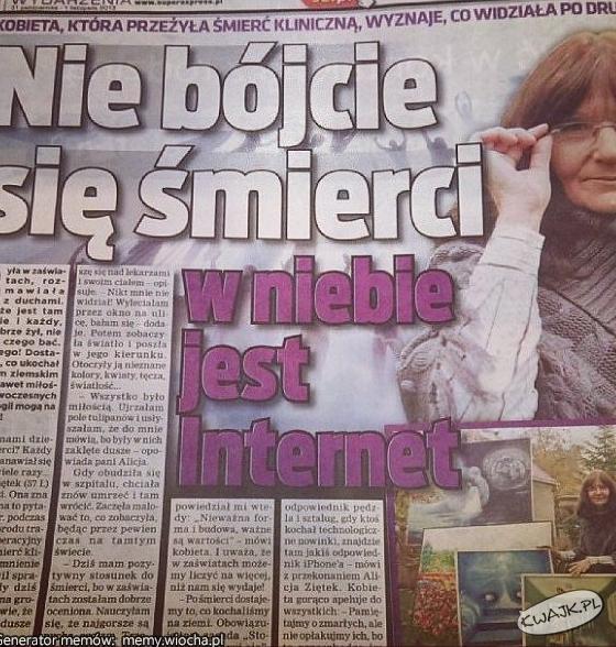 Niebiański internet wg tabloidu