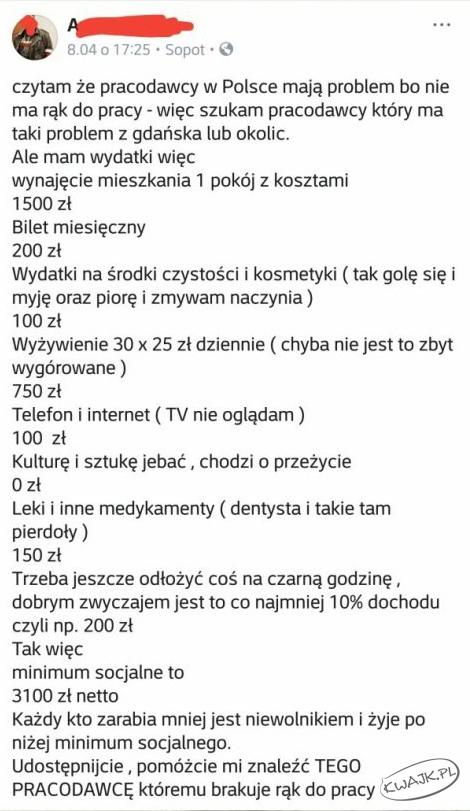 Ile potrzeba PLN aby godnie żyć w Polsce?