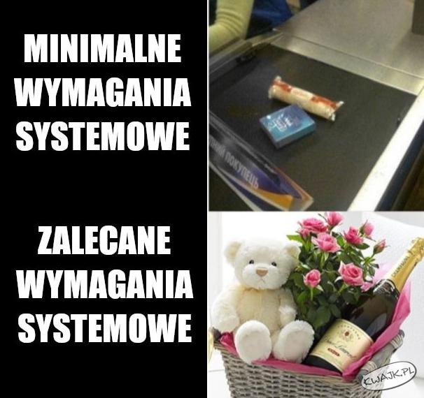 Minimalne vs. zalecane wymagania systemowe