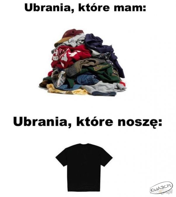 Ubrania, które mam vs. ubrania, które noszę