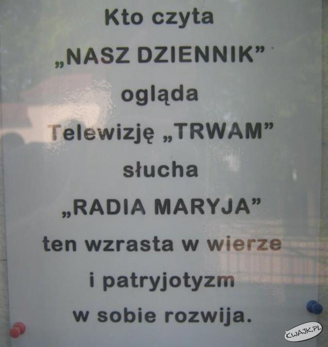 Hasło reklamowe - 1 miejsce w konkursie parafialnym.