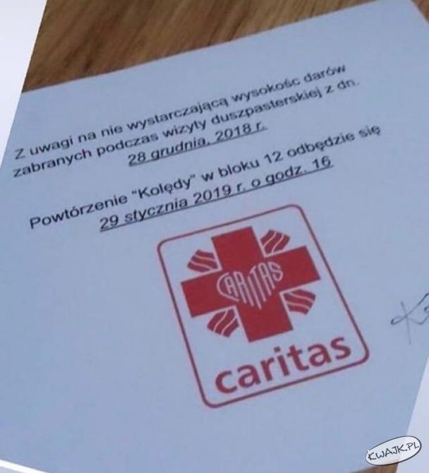 """Powtórzenie """"kolędy"""" przez Caritas"""