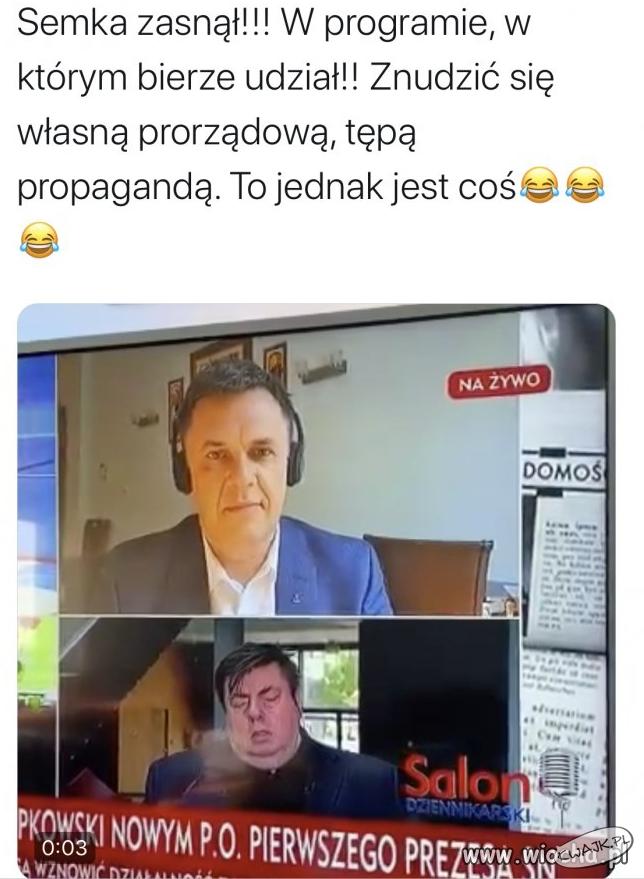 Zasnął w programie na żywo w TVP Info