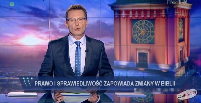 """Pasek TVP ;) """"PiS zapowiada zmiany w Biblii"""""""