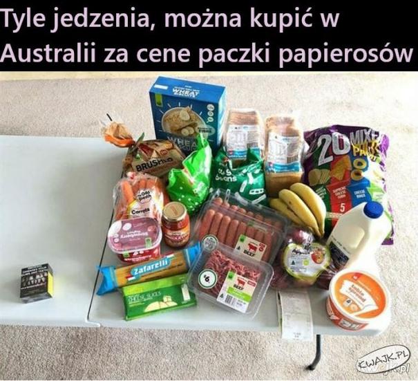 Tyle jedzenia można kupić w Australii za cenę paczki papierosów
