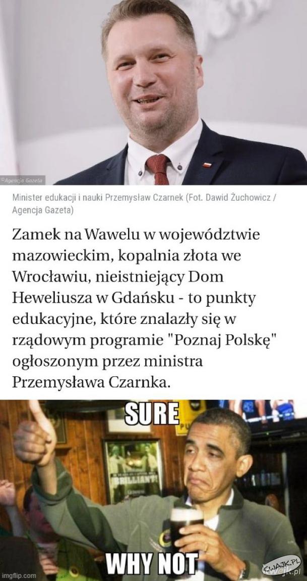 """Kuriozalne błędy na liście programu """"Poznaj Polskę"""" ministra Czarnka"""